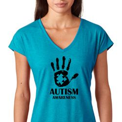 Autism Awareness Hand Ladies Shirts