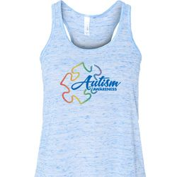 Autism Awareness Puzzle Ladies Flowy Racerback Tanktop