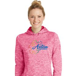 Autism Awareness Puzzle Ladies Pink Moisture Wicking Hoodie