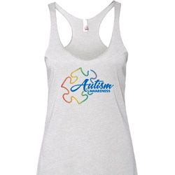 Autism Awareness Puzzle Ladies Tri Blend Racerback Tank Top