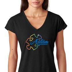 Autism Awareness Puzzle Ladies Tri Blend V-Neck Shirt