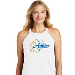 Autism Awareness Puzzle Ladies Tri Rocker Tank Top
