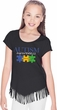 Autism Awareness Puzzle Pieces Girls Fringe T-shirt