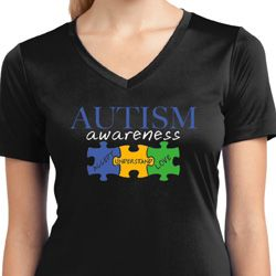 Autism Awareness Puzzle Pieces Ladies Dry Wicking V-neck
