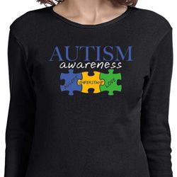 Autism Awareness Puzzle Pieces Ladies Long Sleeve