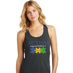 Autism Awareness Puzzle Pieces Ladies Racerback Tank Top
