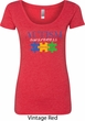 Autism Awareness Puzzle Pieces Ladies Scoop Neck