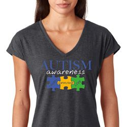 Autism Awareness Puzzle Pieces Ladies Tri Blend V-neck