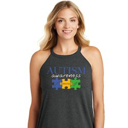 Autism Awareness Puzzle Pieces Ladies Tri Rocker Tank Top