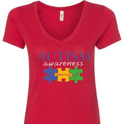 Autism Awareness Puzzle Pieces Ladies V-Neck