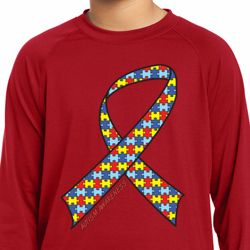 Autism Awareness Ribbon Kids Dry Wicking Long Sleeve Shirt