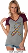 Autism Awareness Ribbon Ladies Contrast V-Neck