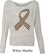 Autism Awareness Ribbon Ladies Off Shoulder Shirt
