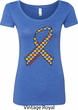Autism Awareness Ribbon Ladies Scoop Neck