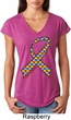 Autism Awareness Ribbon Ladies Tri Blend V-Neck Shirt