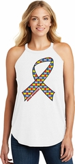 Autism Awareness Ribbon Ladies Tri Rocker Tank Top