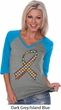 Autism Awareness Ribbon Ladies V-Neck Raglan