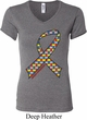 Autism Awareness Ribbon Ladies V-neck Shirt