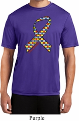 Autism Awareness Ribbon Mens Moisture Wicking Shirt