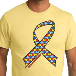 Autism Awareness Ribbon Mens Organic Shirt