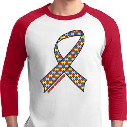 Autism Awareness Ribbon Mens Raglan Shirt
