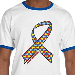 Autism Awareness Ribbon Mens Ringer Shirt