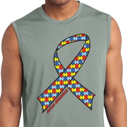 Autism Awareness Ribbon Mens Sleeveless Moisture Wicking Shirt