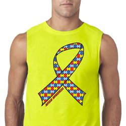 Autism Awareness Ribbon Mens Sleeveless Shirt
