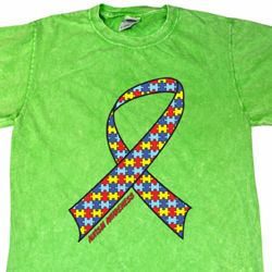 Autism Awareness Ribbon Mineral Tie Dye Shirt