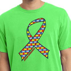 Autism Awareness Ribbon Pigment Dyed Shirt