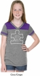 Autism Awareness White Puzzle Girls Football Tee
