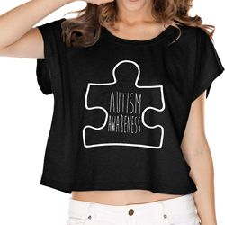 Autism Awareness White Puzzle Ladies Boxy Tee