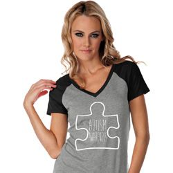 Autism Awareness White Puzzle Ladies Contrast V-neck