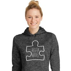 Autism Awareness White Puzzle Ladies Dry Wicking Hoodie