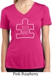 Autism Awareness White Puzzle Ladies Dry Wicking V-neck