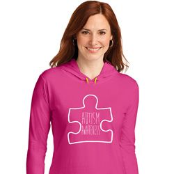 Autism Awareness White Puzzle Ladies Hooded Shirt