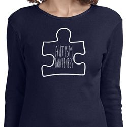 Autism Awareness White Puzzle Ladies Long Sleeve