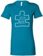 Autism Awareness White Puzzle Ladies Longer Length Shirt