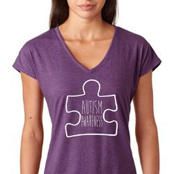 Autism Awareness White Puzzle Ladies Shirts