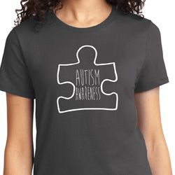 Autism Awareness White Puzzle Ladies T-shirt