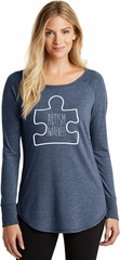Autism Awareness White Puzzle Ladies Tri Long Sleeve