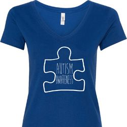 Autism Awareness White Puzzle Ladies V-Neck