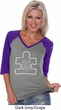 Autism Awareness White Puzzle Ladies V-neck Raglan