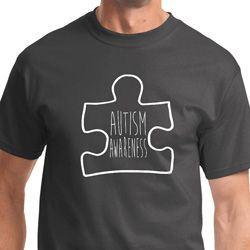 Autism Awareness White Puzzle Mens Shirts