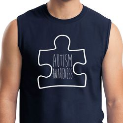 Autism Awareness White Puzzle Muscle Shirt