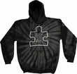 Autism Awareness White Puzzle Tie Dye Hoodie