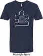 Autism Awareness White Puzzle V-neck Shirt