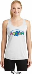 Autism Accept Understand Love Ladies Dry Wicking Racerback Tank Top