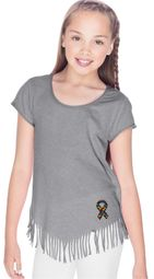 Autism Ribbon Bottom Print Girls Fringe T-shirt