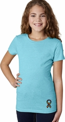 Autism Ribbon Bottom Print Girls T-shirt